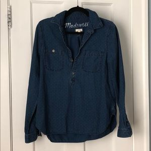 Madewell blue denim shirt with white dots